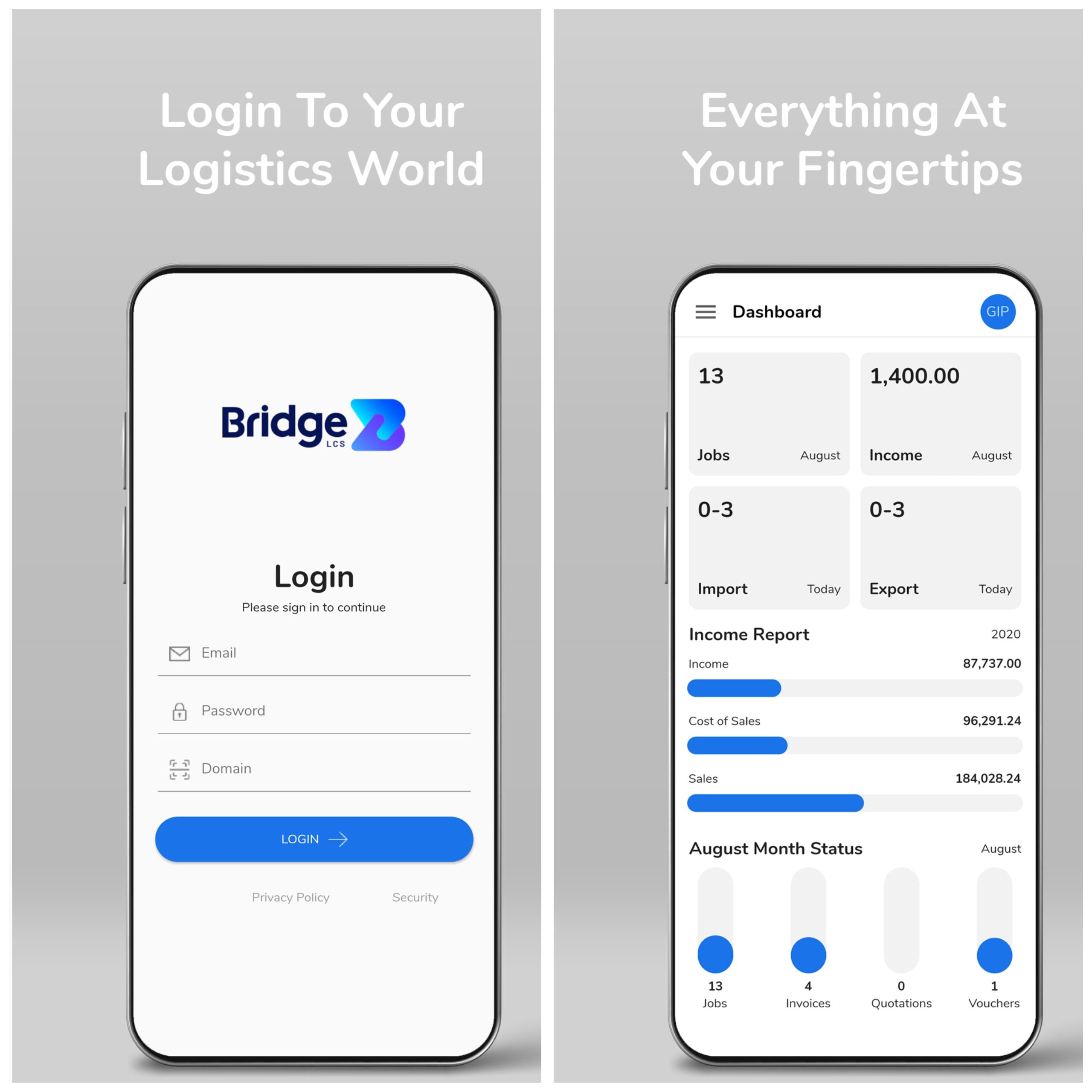 Logistics mobile app features - Login Page