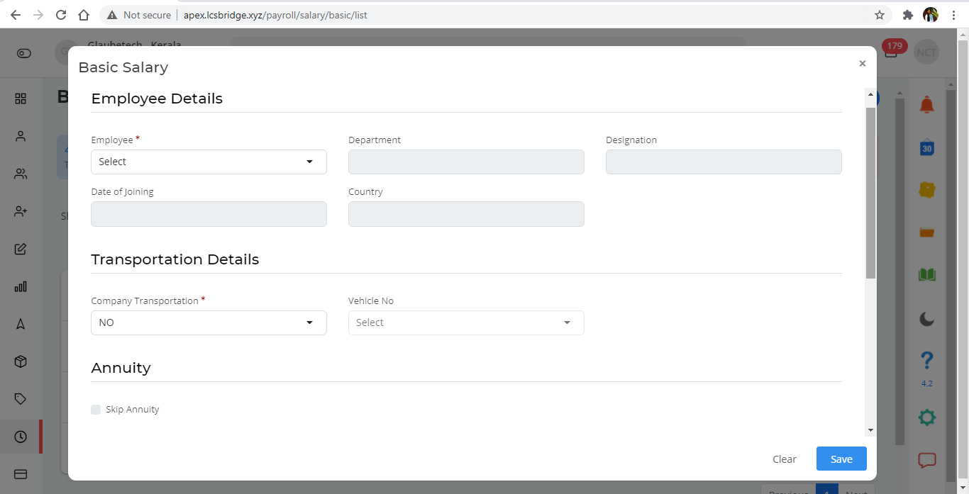 logistics software update version 4.4 - Payroll Basic salary