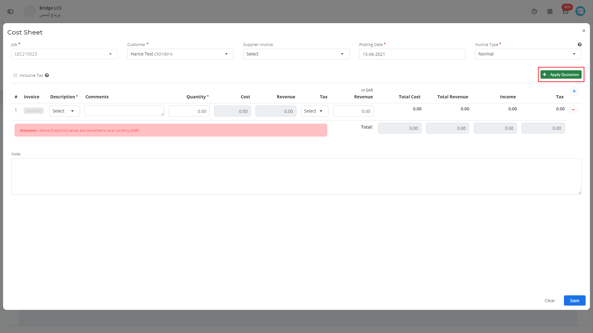 cost sheet in logistics software
