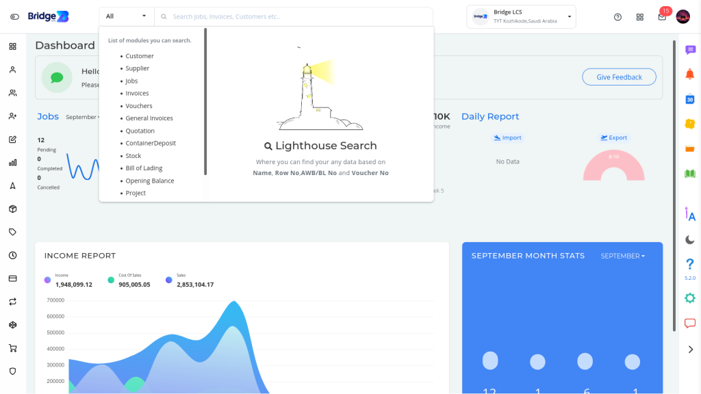 Light house Search : Data Ready at Hand