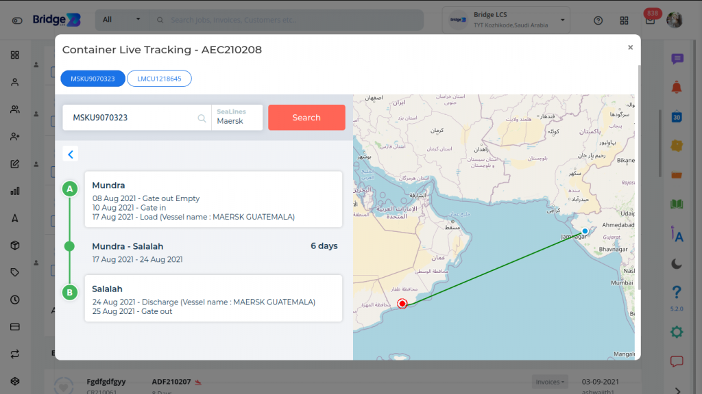 Freight software Tracking Container through Maps